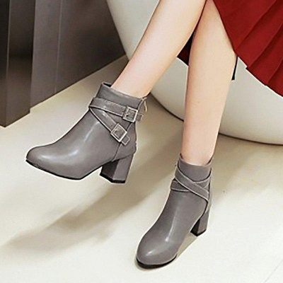 Daily Chunky Heel Buckle Pointed Toe Boots On Sale_6
