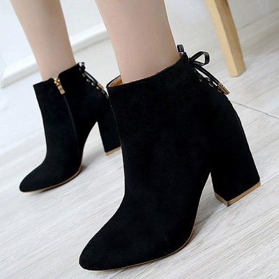Chunky Heel Daily Lace-up Pointed Toe Zipper Boots On Sale_2