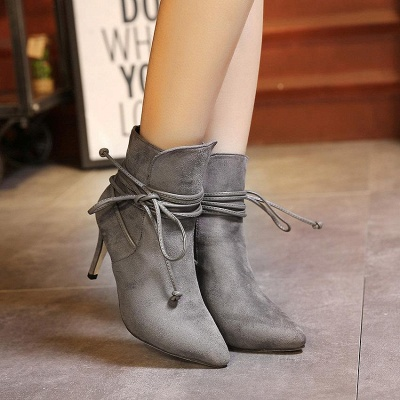 Women's Boots Ankle Boots Stiletto Heel Suede Shoes On Sale_5