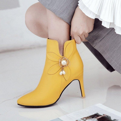 Stiletto Heel Pearl Daily Pointed Toe Elegant Boots On Sale_6