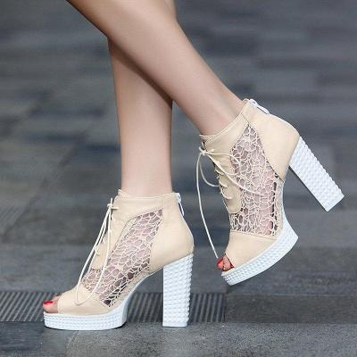 Chunky Heel Lace-up Peep Toe Boots On Sale_4