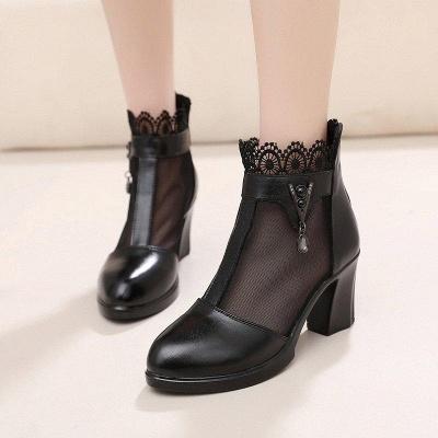 Chunky Heel Zipper Round Toe Elegant Boots On Sale_2