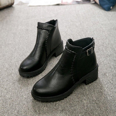 Daily Chunky Heel Zipper Round Toe Buckle Boots On Sale_2