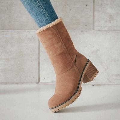 Nubuck Chunky Heel Slip-On Round Toe Boots On Sale_1