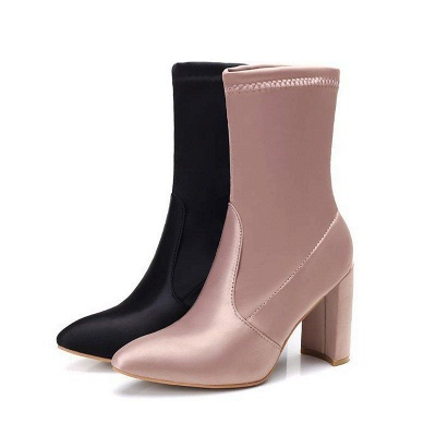 Daily Chunky Heel Zipper Pointed Toe PU Boots On Sale_3