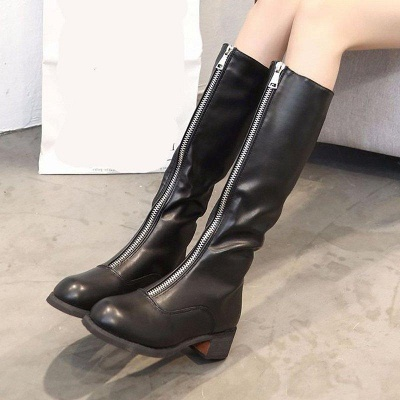 Fashion Zipper Chunky Heel Boot On Sale_2