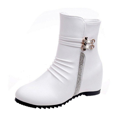 Daily Zipper PU Wedge Heel Round Toe Elegant Boots On Sale_7