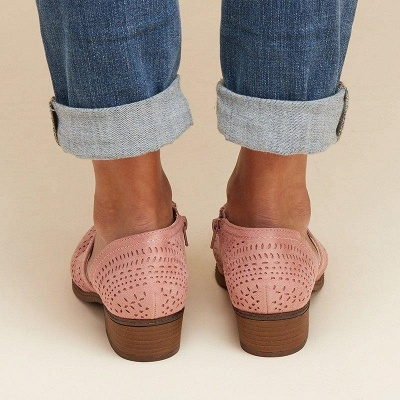 Hollow-out Low Heel Summer Faux Suede Boot On Sale_21