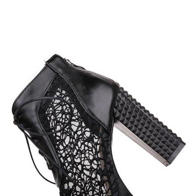 Chunky Heel Lace-up Peep Toe Boots On Sale_10