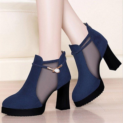 Daily Chunky Heel Buckle Pointed Toe Elegant Boots On Sale_2