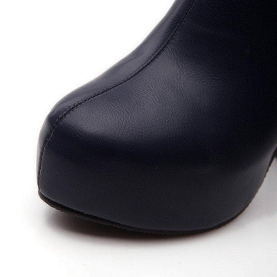 Daily Chunky Heel Zipper Tie Round Toe Boots On Sale_7