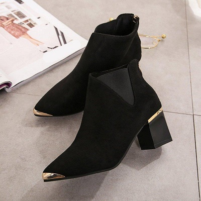 Suede Chunky Heel Pointed Toe Boots On Sale_3