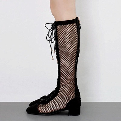 Mesh Look Through Lace-up Round Toe Boots On Sale_3