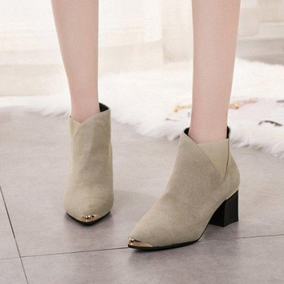 Suede Chunky Heel Pointed Toe Boots On Sale_1