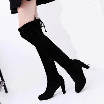 Lace-up Daily Suede Chunky Heel Round Boots On Sale_2