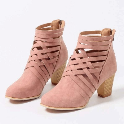 Zipper Pointed Toe Chunky Boots On Sale_9