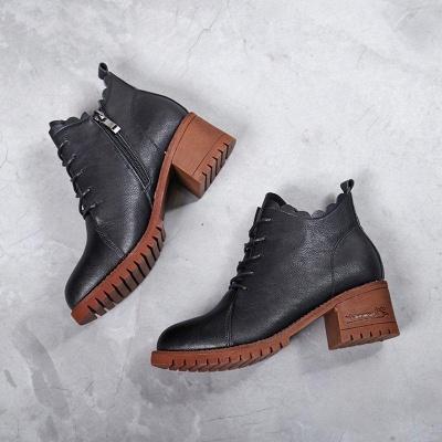 Chunky Heel Zipper Round Toe Boots On Sale_6