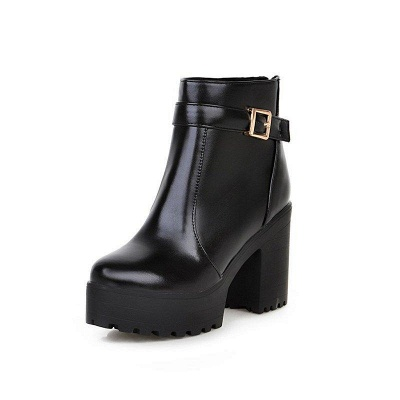 Daily PU Chunky Heel Round Toe On Sale_5