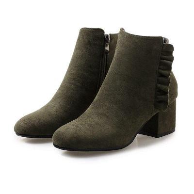 Chunky Heel Zipper Elegant Round Boots On Sale_1