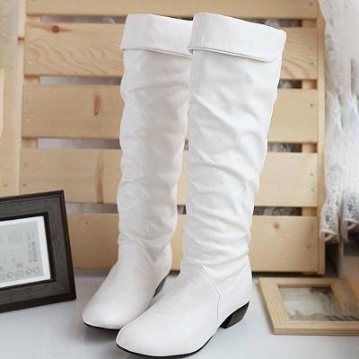Chunky Heel Daily PU Round Boots On Sale_6