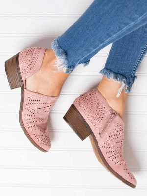 Hollow-out Low Heel Summer Faux Suede Boot On Sale_12