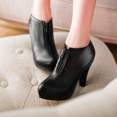 Chunky Heel Zipper Boots On Sale_2