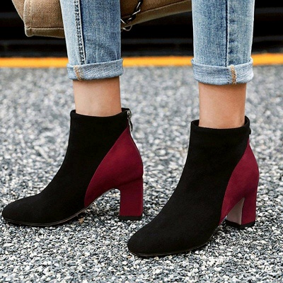 Women Daily Chunky Heel Suede Color Boots On Sale_6