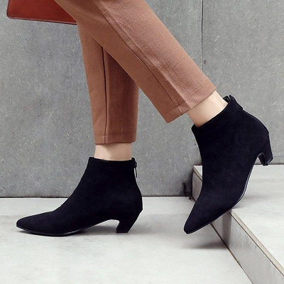 Chunky Heel Zipper Daily Pointed Toe Elegant Boots On Sale_2