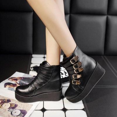 Women's Boots Black Round Toe Wedge Heel Boots On Sale_5