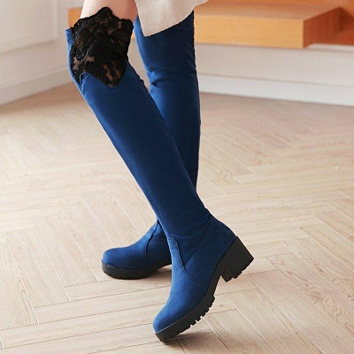 Blue Suede Daily Chunky Heel Pointed Boots On Sale_7