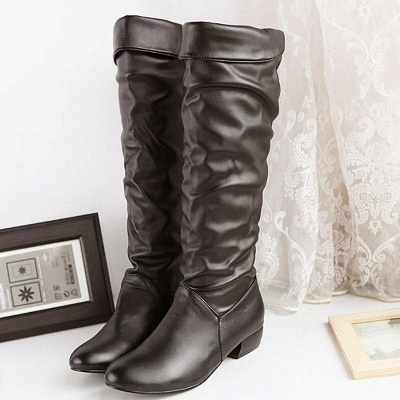 Chunky Heel Daily PU Round Boots On Sale_5