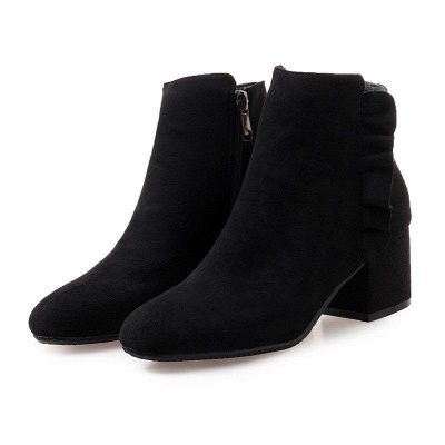 Chunky Heel Zipper Elegant Round Boots On Sale_3