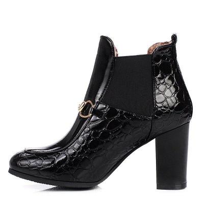 Daily Chunky Heel PU Round Boots On Sale_3