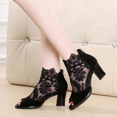 Daily Chunky Heel Embroidery Peep Toe Zipper Boots On Sale_6