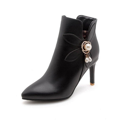 Stiletto Heel Pearl Daily Pointed Toe Elegant Boots On Sale_2
