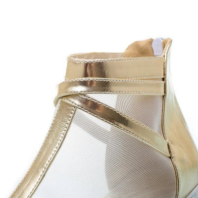 Zipper Daily Peep Toe Wedge Heel Elegant Boots On Sale_8