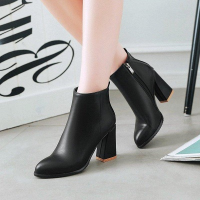 Chunky Heel Zipper Daily Pointed Toe Boots On Sale_5