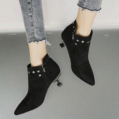 Rivet Kitten Heel Suede Boots On Sale_4