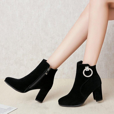 Suede Chunky Heel Working Square Boots On Sale_3