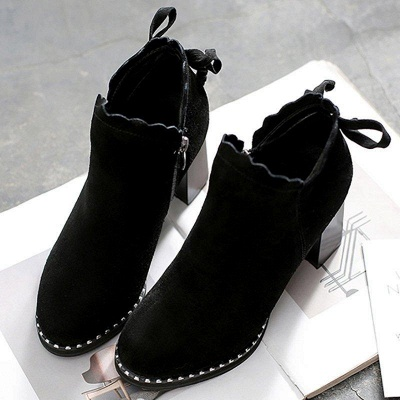 Suede Bowknot Zipper Boots On Sale_1