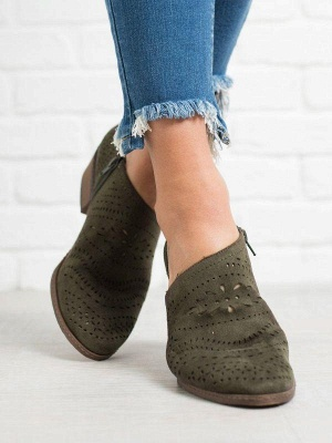Hollow-out Low Heel Summer Faux Suede Boot On Sale_23