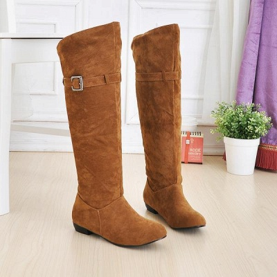 Suede Daily Wedge Heel Buckle Boots On Sale_2