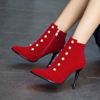 Suede Daily Stiletto Heel Pointed Toe Zipper Boots On Sale_8