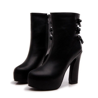 Daily Chunky Heel Zipper Tie Round Toe Boots On Sale_3