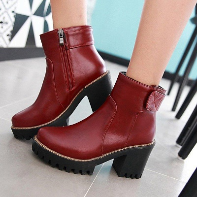 Daily Chunky Heel Zipper Round Boots On Sale_6