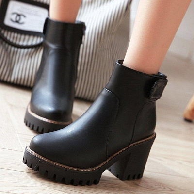 Daily Chunky Heel Zipper Round Boots On Sale_7