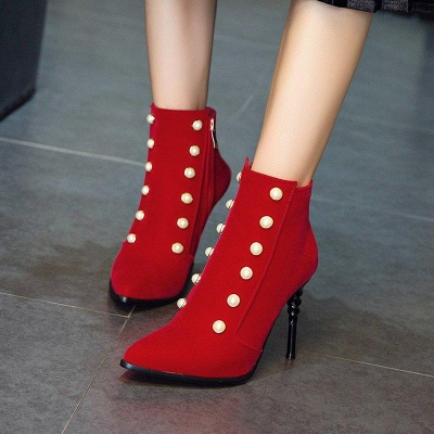 Suede Daily Stiletto Heel Pointed Toe Zipper Boots On Sale_7