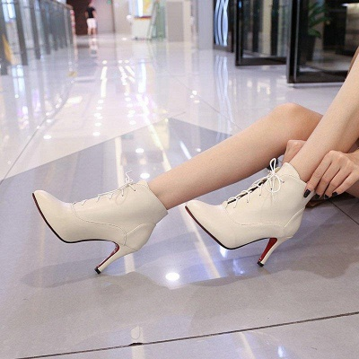 Lace-up Stiletto Heel Pointed Toe Elegant Boots On Sale_10