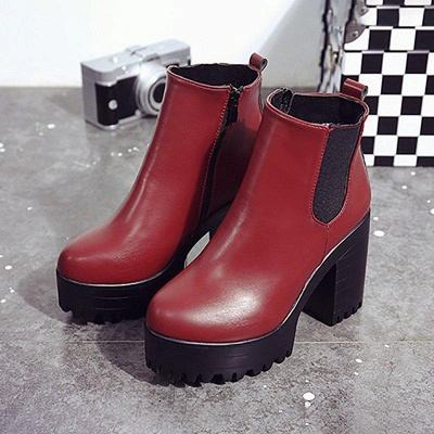 Daily Chunky Heel Round Toe Boots On Sale_6