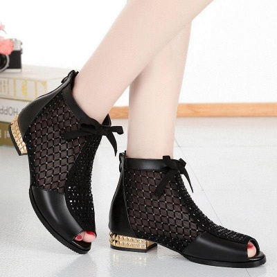 Black Chunky Heel Bowknot Casual Mesh Boots On Sale_5